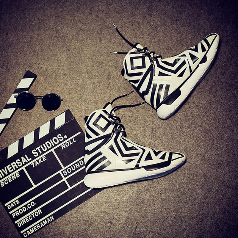 2017韩版皮靴超纤皮厚底中筒圆头系带潮男靴子靴男高帮流行男鞋