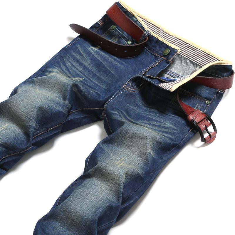 秋冬季加厚男士牛仔裤男装直筒青年休闲韩版破洞修身简约长裤子潮