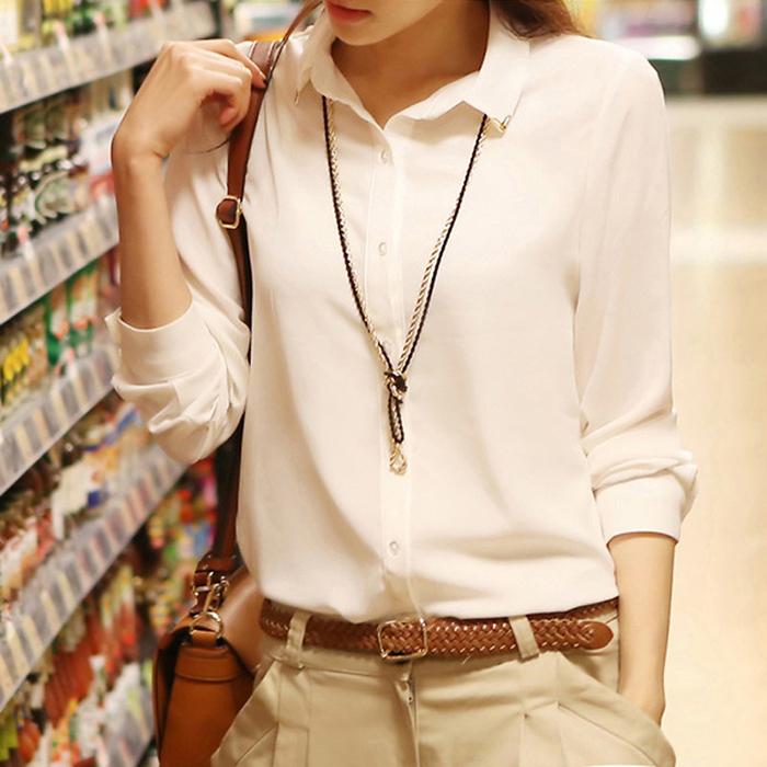 春装新款加绒韩版女士长袖衬衫女装白色雪纺衫打底衫女修身百搭
