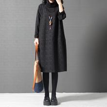 十暮棉女春装新款2018韩版宽松大码女装时尚高领中长款连衣裙图片