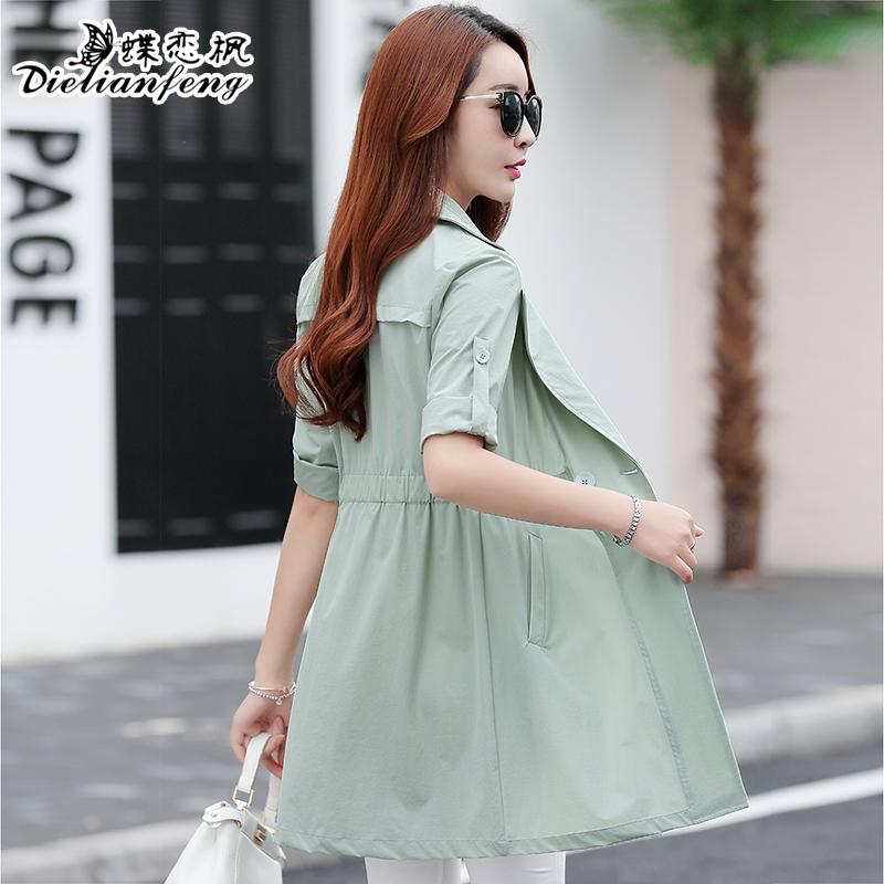 女装夏季女中外套风衣修身收腰七分袖薄长款防晒