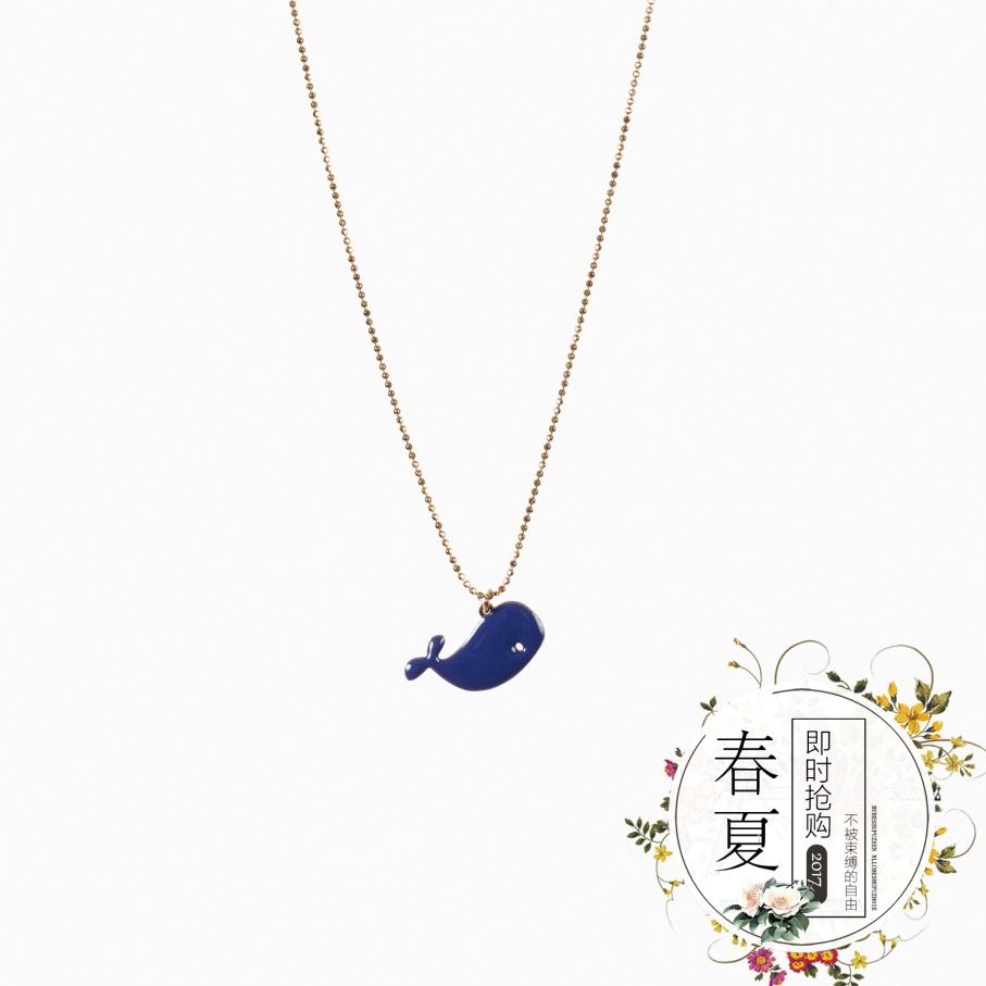 项链精致蓝色鲸鱼马卡龙少女毛衣珐琅 巴黎