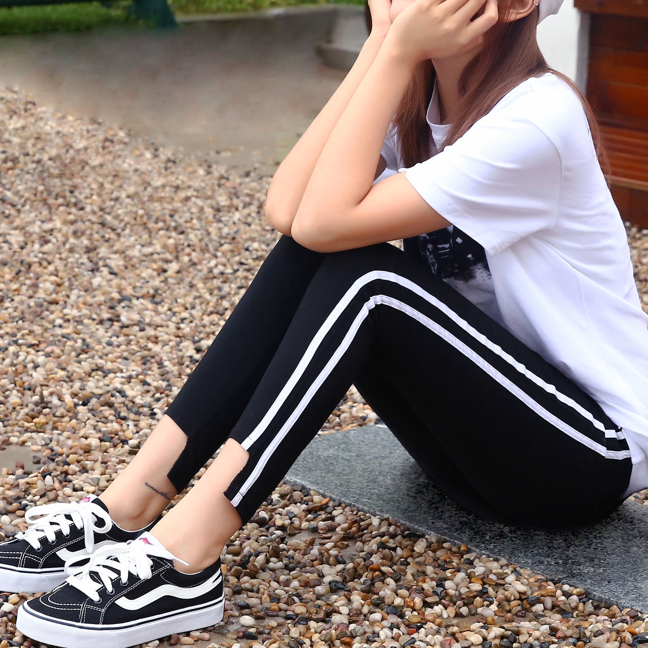 运动裤白条学生女九分休闲春夏打百搭显瘦双杠底裤紧身裤
