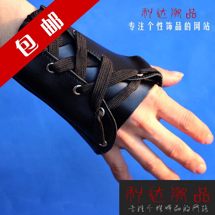 包邮朋克摇滚舞台半指手套男士韩版真皮表演手套潮男小饰品新品