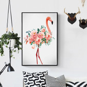 领典diy数字油画卧室客厅结婚礼物火烈鸟填色手绘大幅装饰画包邮
