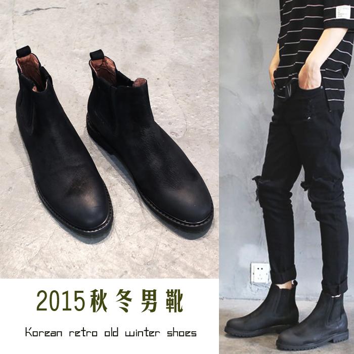2017热卖复古中筒冬季真皮男靴子流行男鞋高帮军靴潮鞋牛皮潮靴