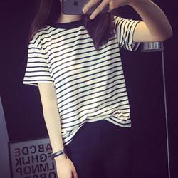 短袖T恤韩版新款黑白条纹圆领上衣宽松显瘦百搭打底衫女装潮学生