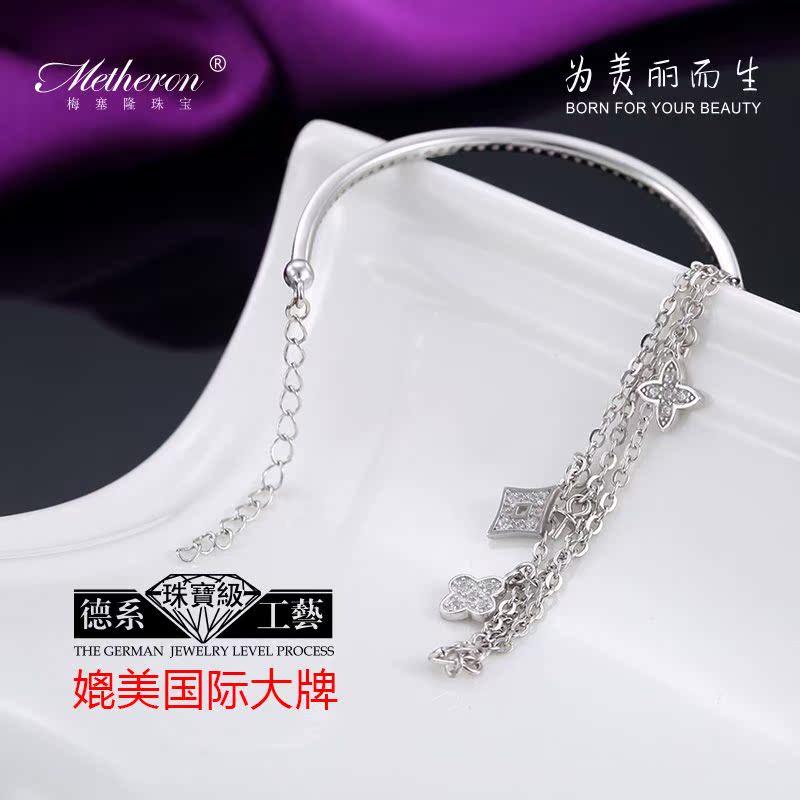 梅塞隆 925银排钻手链女韩版银饰品水晶首饰时尚女生珠宝刻字礼物
