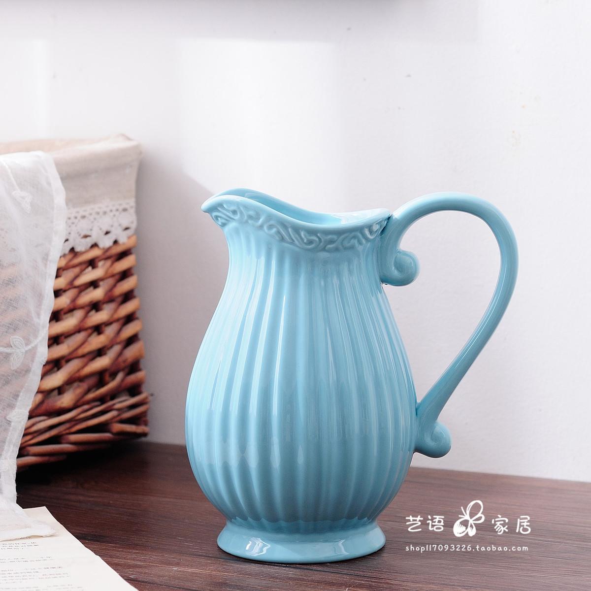 简约欧式水培花瓶陶瓷客厅插花摆件创意干花瓶小清新奶壶白色蓝色