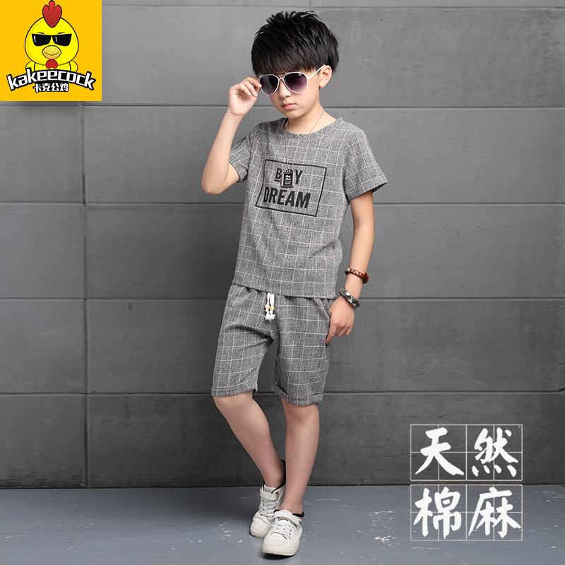 童裝中大童夏季夏裝兒童男童男裝短袖套裝