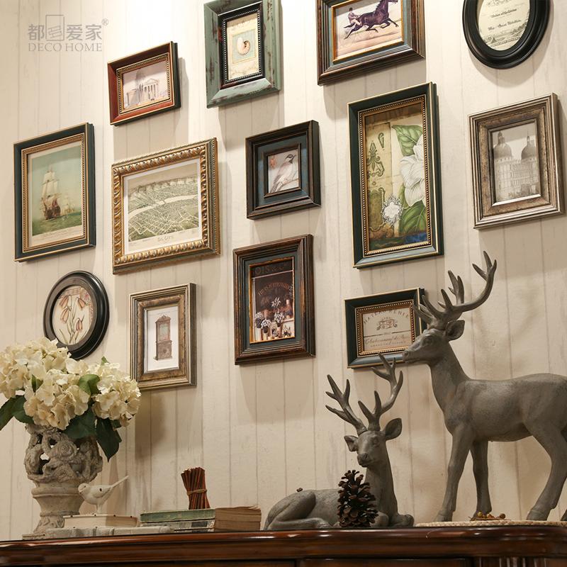 欧式实木照片墙组合客厅玄关美式复古做旧相框墙创意