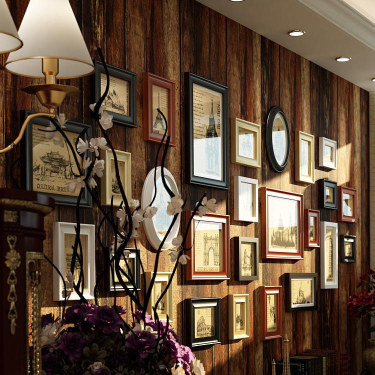 实木怀旧欧式 高档大尺寸相框墙美式照片墙大墙面大