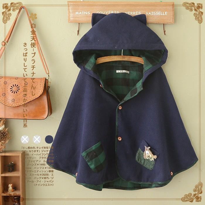 森女日系秋冬装可爱中学生连帽斗篷外套复古单排扣少女毛呢子大衣