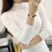 女长袖 女装 加厚套头短款 白色针织打底衫 高领毛衣女秋冬季外套韩版