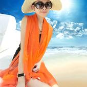 2015纯色百变春秋丝巾韩版女纱巾雪纺围巾披肩围脖超长沙滩巾