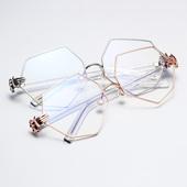 不规则八角眼镜幂幂同款珍珠鼻托多边形眼镜框菱形平光近视眼镜女