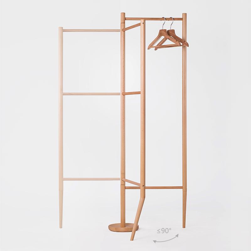 现代简约创意设计 原木家具全白橡木落地衣帽架挂