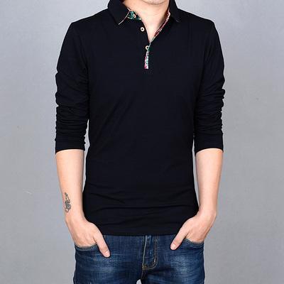 此时花落春装新款 印花男士韩版加肥加大码男装潮衬衫领长袖T恤男