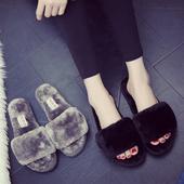 女厚底冬季居家居室内木地板月子毛绒一字拖毛毛拖鞋 女冬天 棉拖鞋