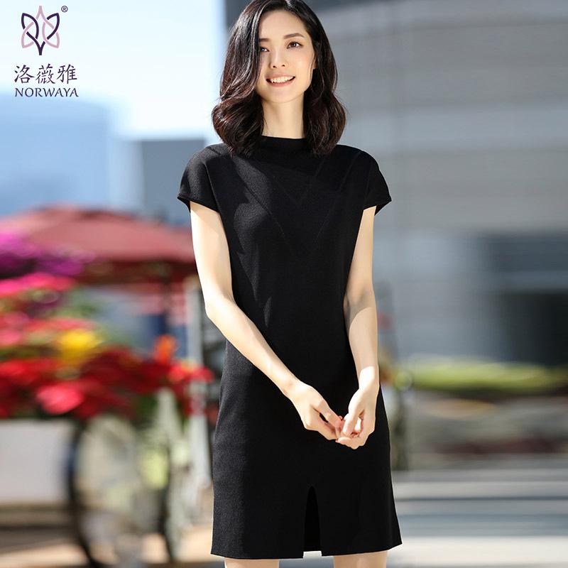 洛薇雅2017春装新款黑色套头针织衫女中长款修身立领针织连衣裙薄