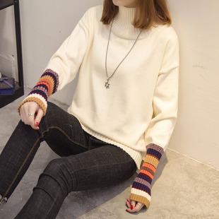 2016秋冬新款韩版女装宽松套头针织衫半高领显瘦短款毛衣女
