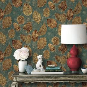 爱朵 艾尔斯纯纸墙纸 美式风格 大树叶图案 电视沙发背景壁纸