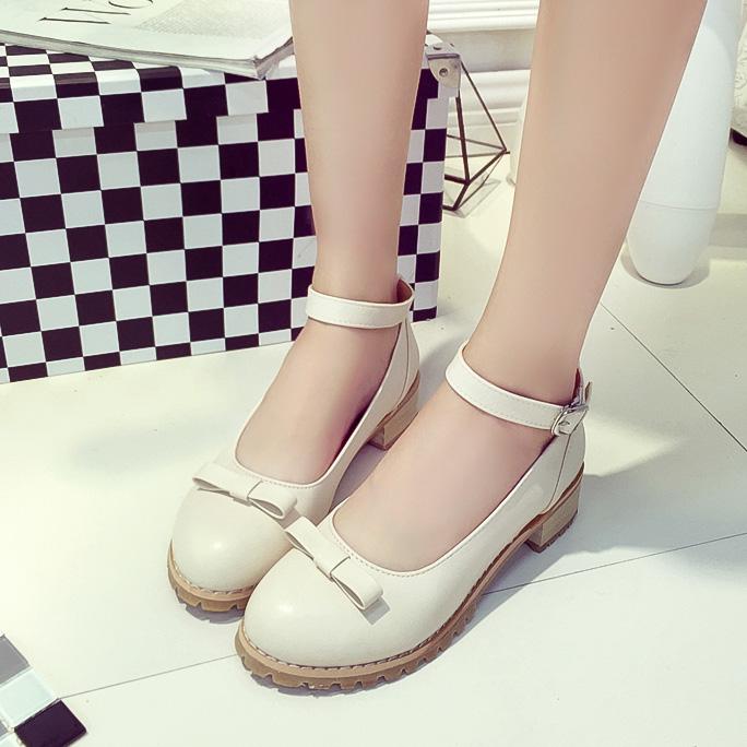 2016秋季日系森女甜美洛丽塔蝴蝶结可爱单鞋扣带平底