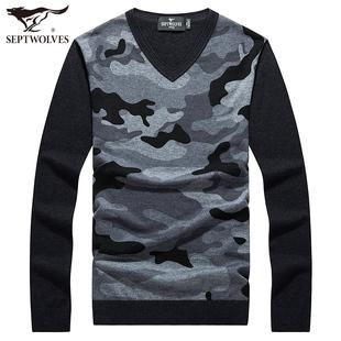 七匹狼羊毛衫 秋季新款男士V领时尚休闲长袖针织衫正品薄款毛衣潮
