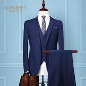 新郎西服套装男士三件套结婚礼服伴郎小西装修身韩版商务职业正装