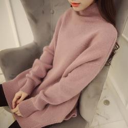 秋冬新款半高领针织衫套头打底衫外套yabo亚博体育宽松中长款毛衣女冬加厚