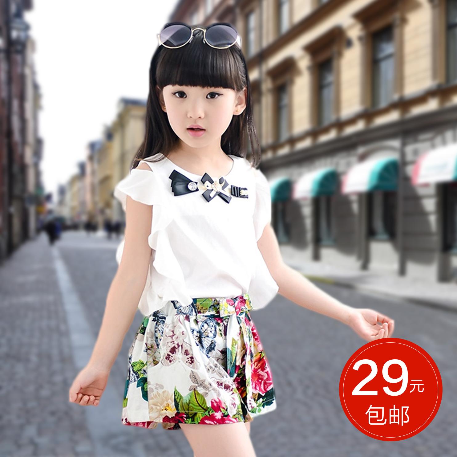 童装女童2016新款夏装韩版潮儿童衣服中大童短袖休闲两件套装夏季