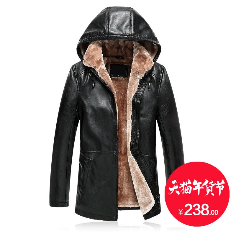 南极人中年男士加绒保暖皮衣 连帽大码老年加厚外套 pu一体大衣男