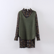 朵茹2017新品韩版女装中长款V领针织衫毛衣背心雪纺长裙两件套潮图片