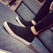 韩版 高帮帆布鞋 潮流黑色运动学生鞋 透气青少年休闲板鞋 春季男鞋