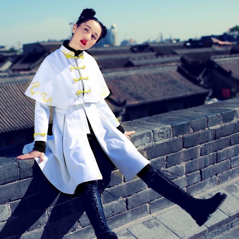 素萝 龙颜 原创设计中国风女装2015冬新款斗篷型高腰修身毛呢外套