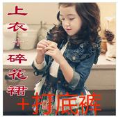 2014新款韩版童套装女童秋装中大童儿童牛仔碎花裙两件套童装
