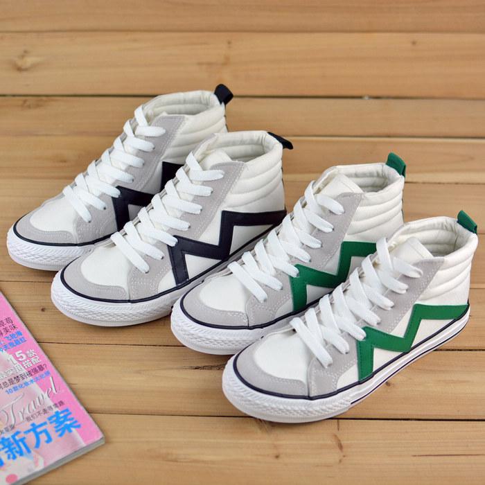秋季新款女式韩版平底学生鞋少女鞋 高帮牛仔帆布鞋时尚潮鞋
