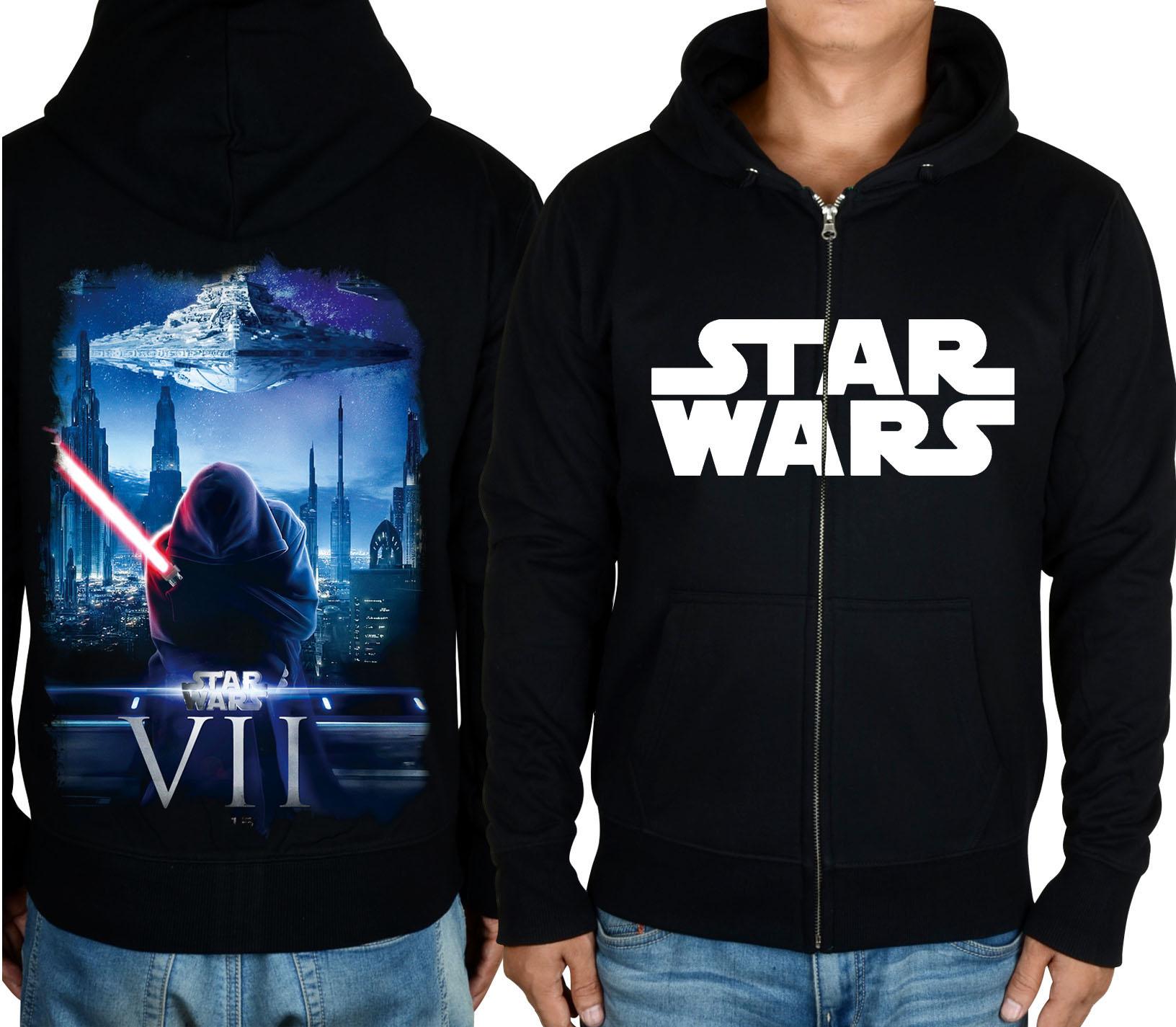 星球大战Star Wars 7原力觉醒达斯摩尔光剑拉链加绒休闲运动卫衣