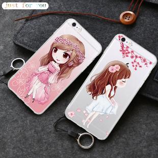 苹果6手机壳6s超薄透明硅胶防摔保护套软iPhone6s挂绳简约男女款