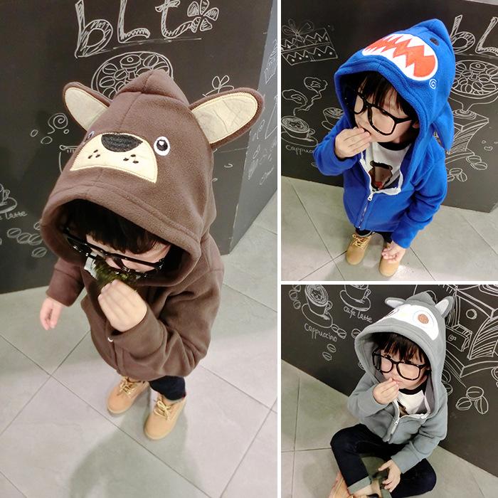 2016童装新款秋冬款外套 男童韩版卡通摇粒绒儿童连帽卫衣