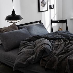 日式水洗棉三件套无印全棉4件套纯棉床单床笠被套床上用品四件套