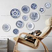 饰挂盘中餐厅背景墙壁挂盘子墙圣诞礼物 青花瓷盘组盘陶瓷盘装图片