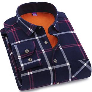 男士加绒加厚保暖衬衫修身时尚格子
