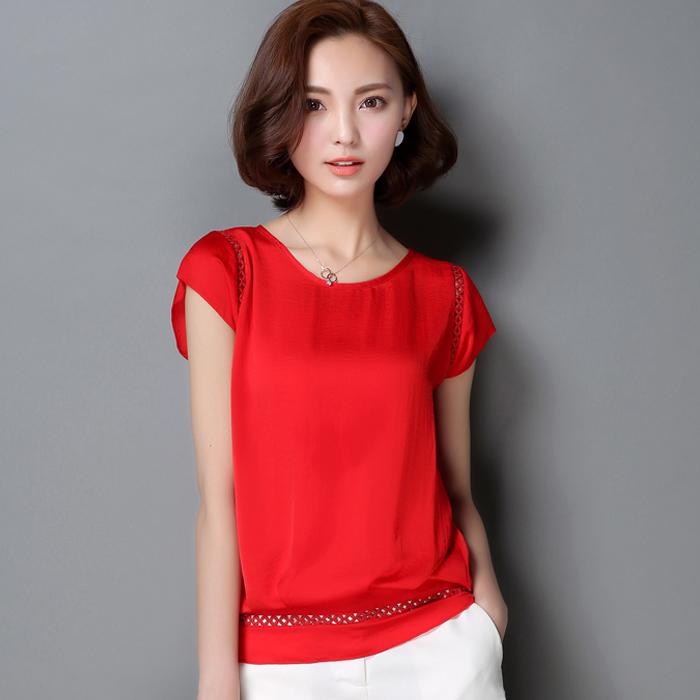 2016大码雪纺衫女短袖上衣夏季新款百搭韩版宽松T恤女士显瘦小衫