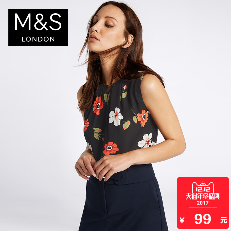 马莎玛莎 女秋装新款花朵图案圆领茧型衬衫上衣 T436431