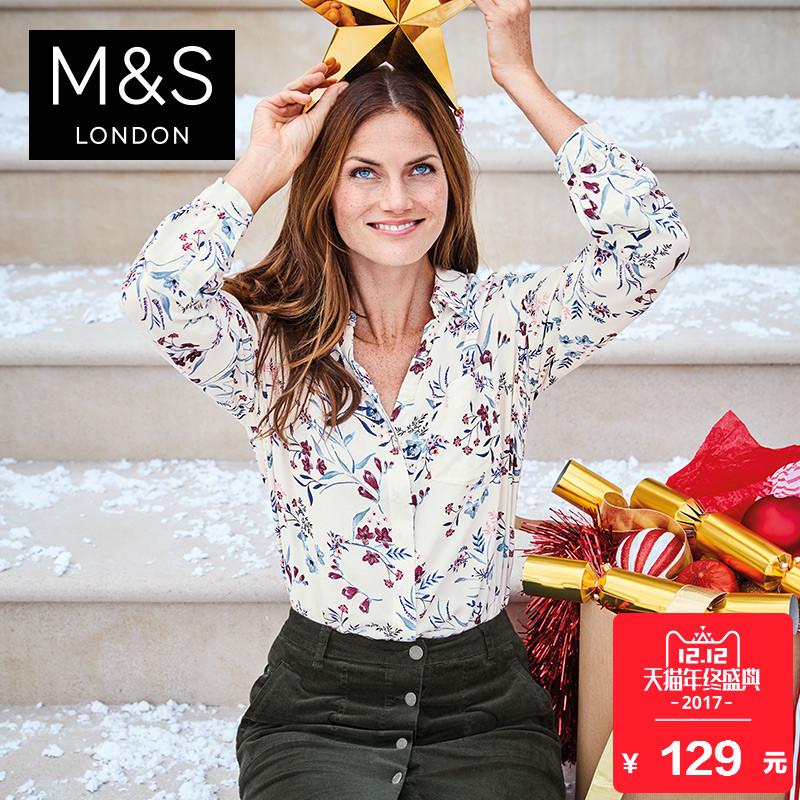 马莎玛莎 女秋装新款花朵印花长袖衬衫 T436809