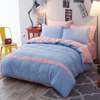 全棉加厚磨毛四件套简约冬纯棉ab版被套床单四件套1.8/2.0m床双人