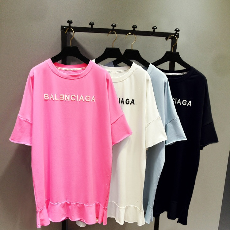韩国代购2017夏装宽松刺绣字母中长款T恤女 荷叶边连衣裙短袖潮