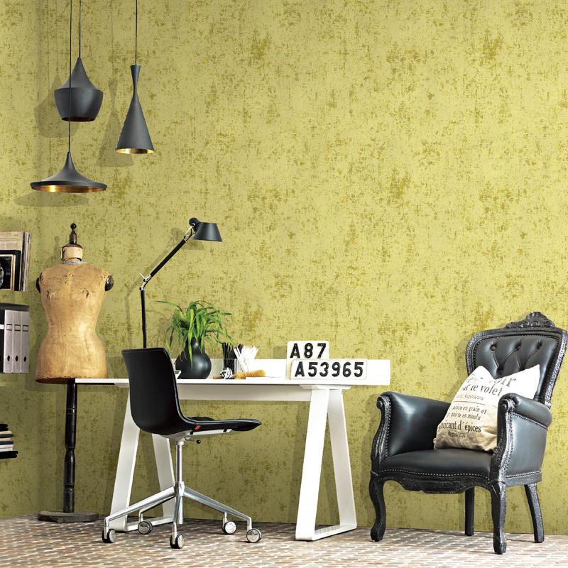 北欧宜家素色墙纸做旧无纺布现代简约卧室客厅湖蓝色黄色纯色壁纸