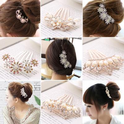 韩国发饰品时尚发梳插梳U型夹发簪钻珍珠发夹发箍盘发器新娘头饰